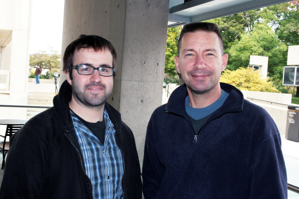 Chris Sabo, right, and I pose for a photo after our interview. Photo courtesy of Charlotte Etherton.